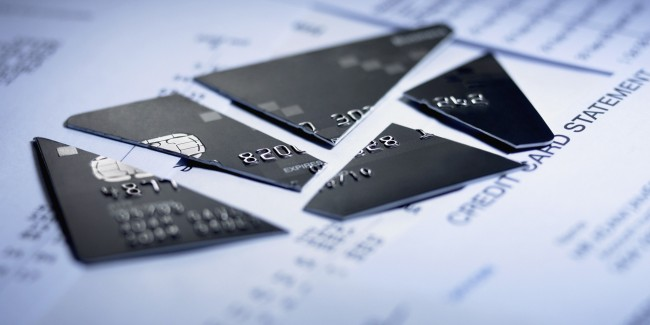 Close up of cut pieces of credit card